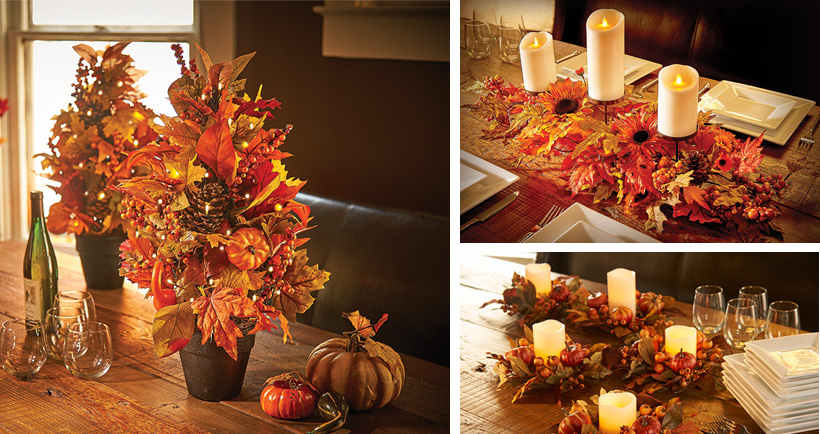 candles and leaves - Thanksgiving Centerpieces Ideas