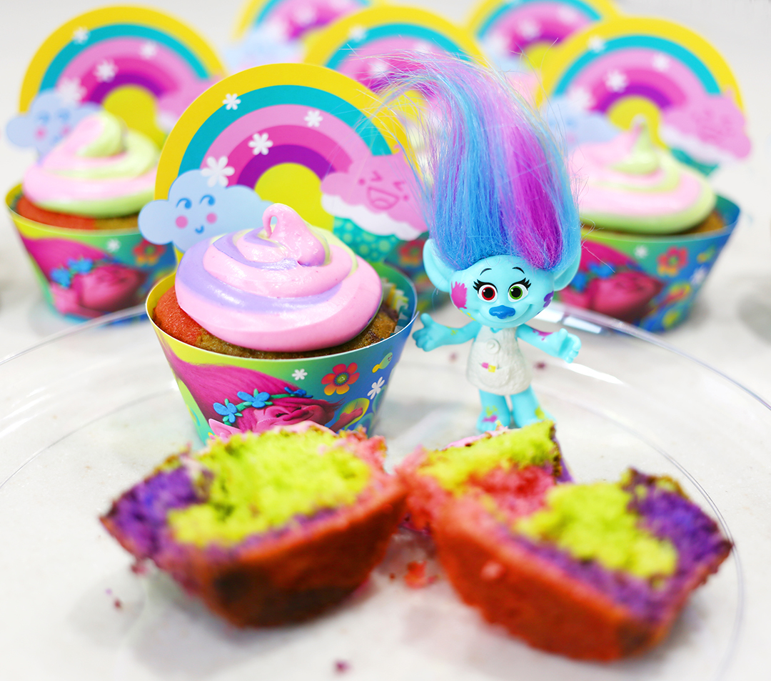Trolls Tie Dye Cupcakes