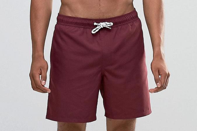 ASOS Mid Length Burgundy Swim Shorts