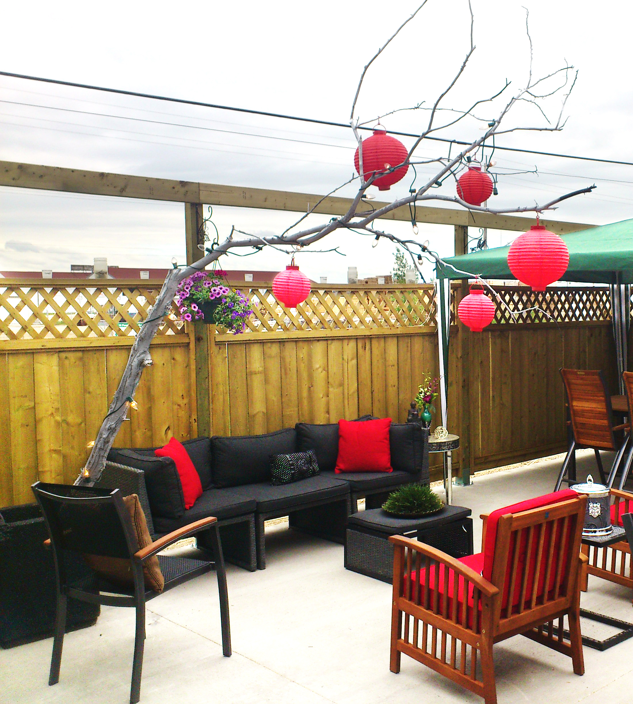 Diy tree branch patio decor marc and mandy show for Homemade tree decorations