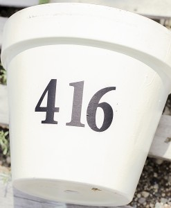 , Whimsical Potted House Number